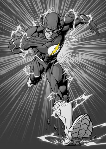 THE FLASH - RUNS AT YOU B&W canvas print - self adhesive poster - photo print